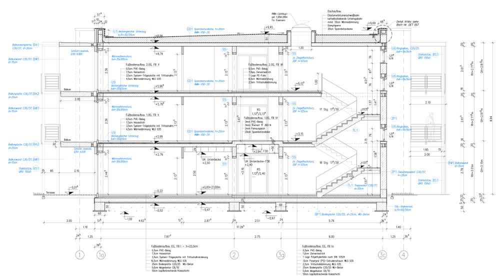 SCH 001 - Gebäudeschnitt A-A M 50